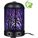 COOSA Genuine Unique Enchanted Forest Designed 100ml Ultrasonic Aromatherapy Essential Oil Diffuser US Plug Standard Cool Aroma Mist Humidifier with LED Light for Home and Office (Black)