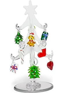 banberry designs glass christmas tree frosted glass tree with 10 colorful glass ornaments 6