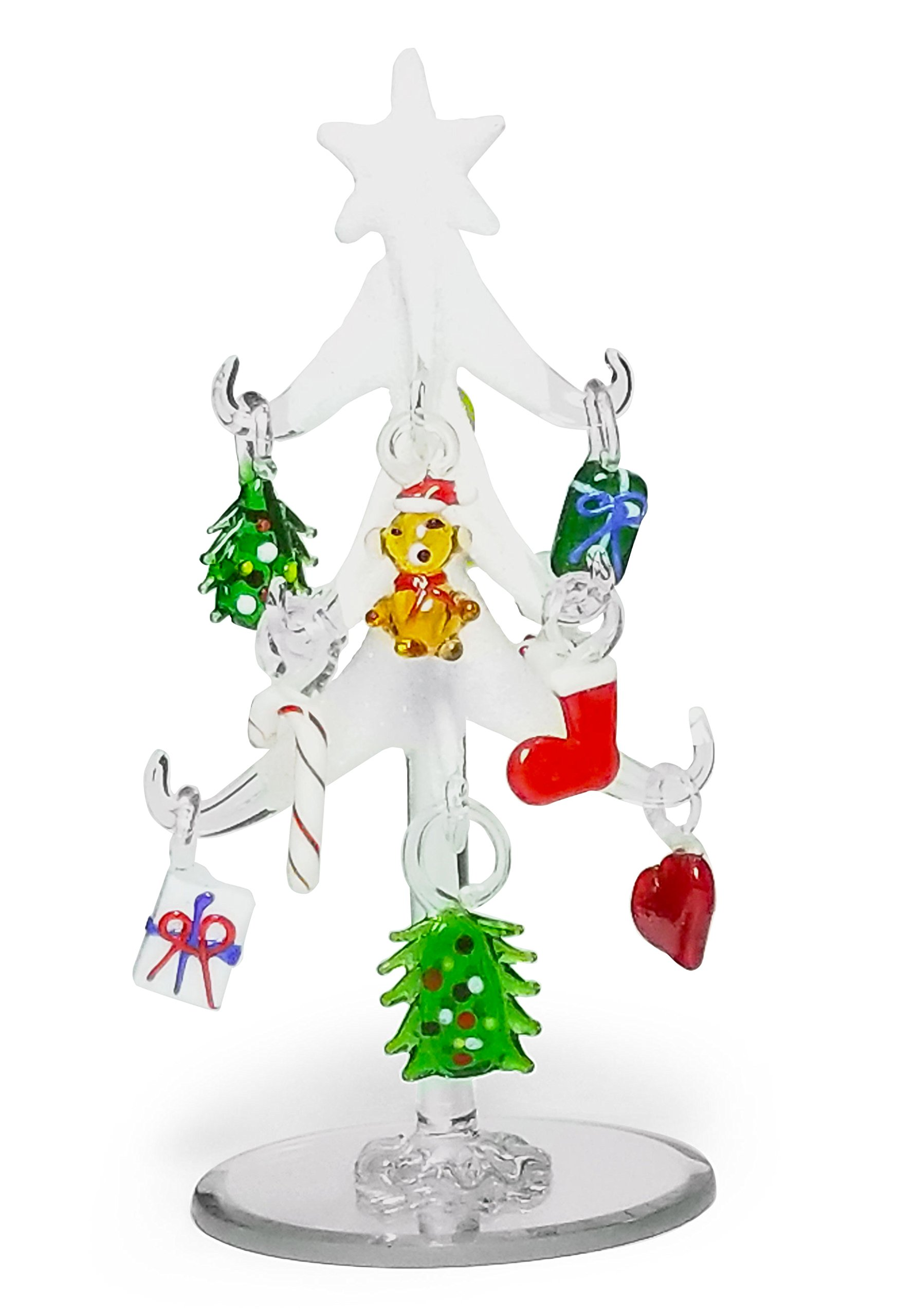 Glass Christmas Tree - Frosted Glass Tree with 10 Colorful Glass Ornaments - 6'' Tall Tabletop Decorated Xmas Tree