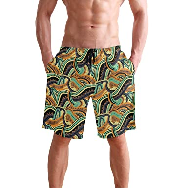 Men Print Swim Trunks Colorful Camouflage Swim Elastic Waist Pants Beach Board Shorts with Drawstring
