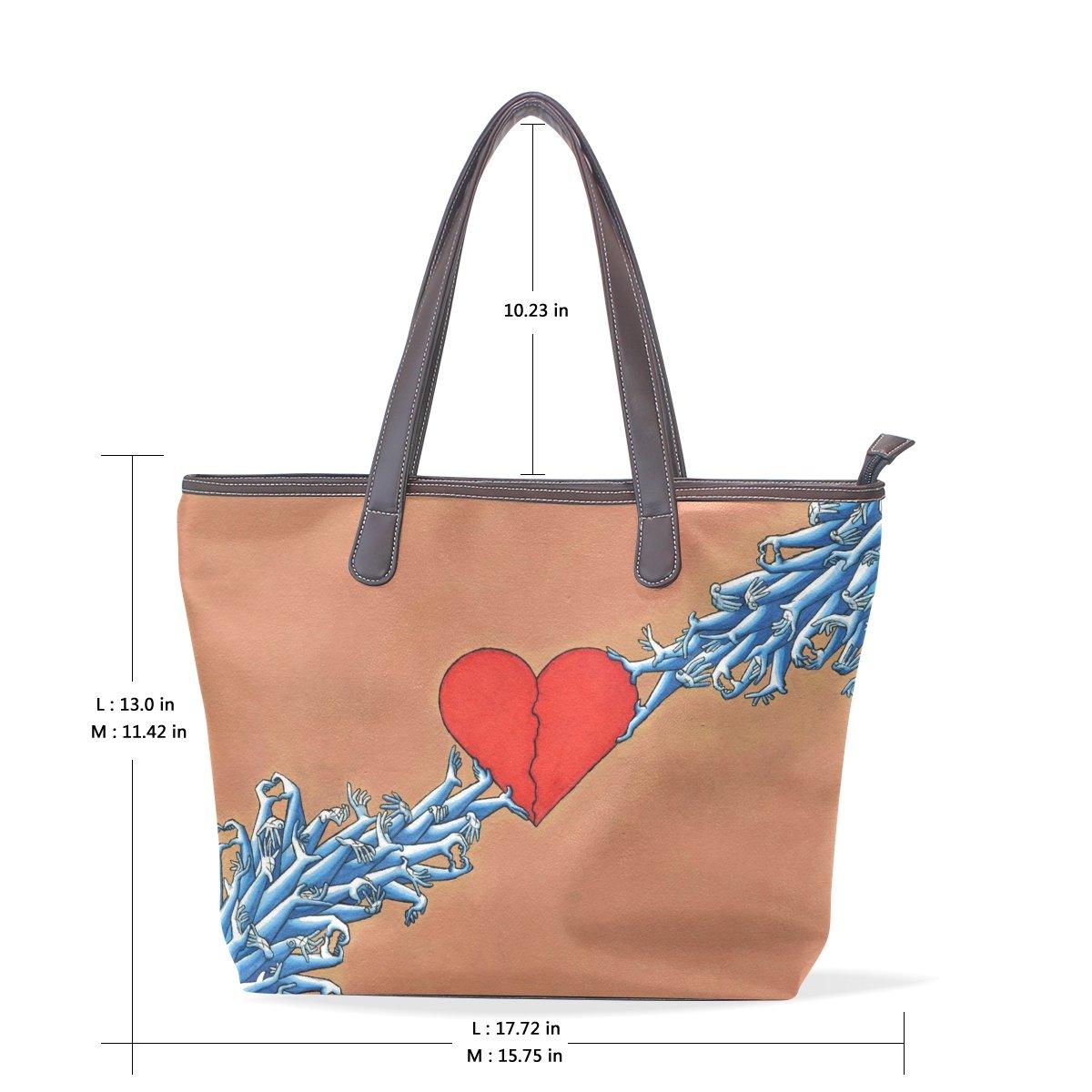 SCDS Red Heart PU Leather Lady Handbag Tote Bag Zipper Shoulder Bag