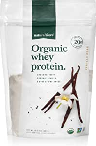 Natural Force Grass Fed Organic Whey Protein Powder – Non GMO Verified, Humane Certified & Lab Tested for Toxins – Real Vanilla Flavor – Keto Friendly, Low Carb, and Kosher - 14.3 Ounce A2 Protein