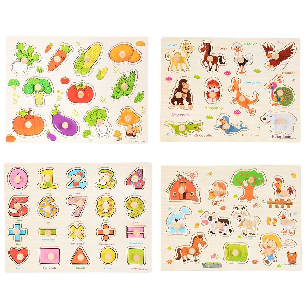 ThinkMax 4 Pcs Children Wooden Jigsaw Pegged Puzzle Board Toy Educational and Learning Puzzles Toy - Number, Vegetable, Village and Animal