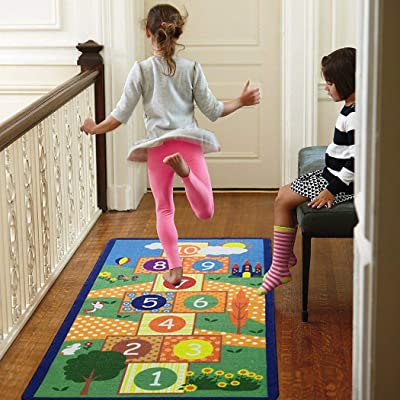 Hopscotch Play Carpet Game Rug Floor Mat Kid Area Rug for Playroom Bedroom Nursery Room Decor (28×55 in, Green): Kitchen & Dining