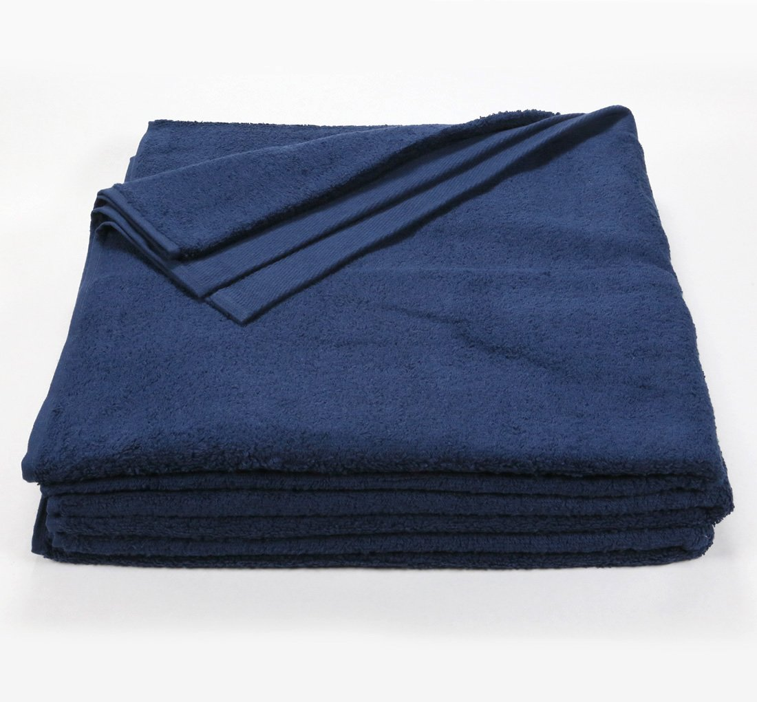 Navy Blue 32'' x 66'' Luxury Bath Sheet Towel, 1 Dozen (12), 100% Ring-Spun Cotton, Extra Large Beach, Pool or Bath Towels, Machine Washable, Hotel Quality, Super Soft and Highly Absorbent Towels (Navy)