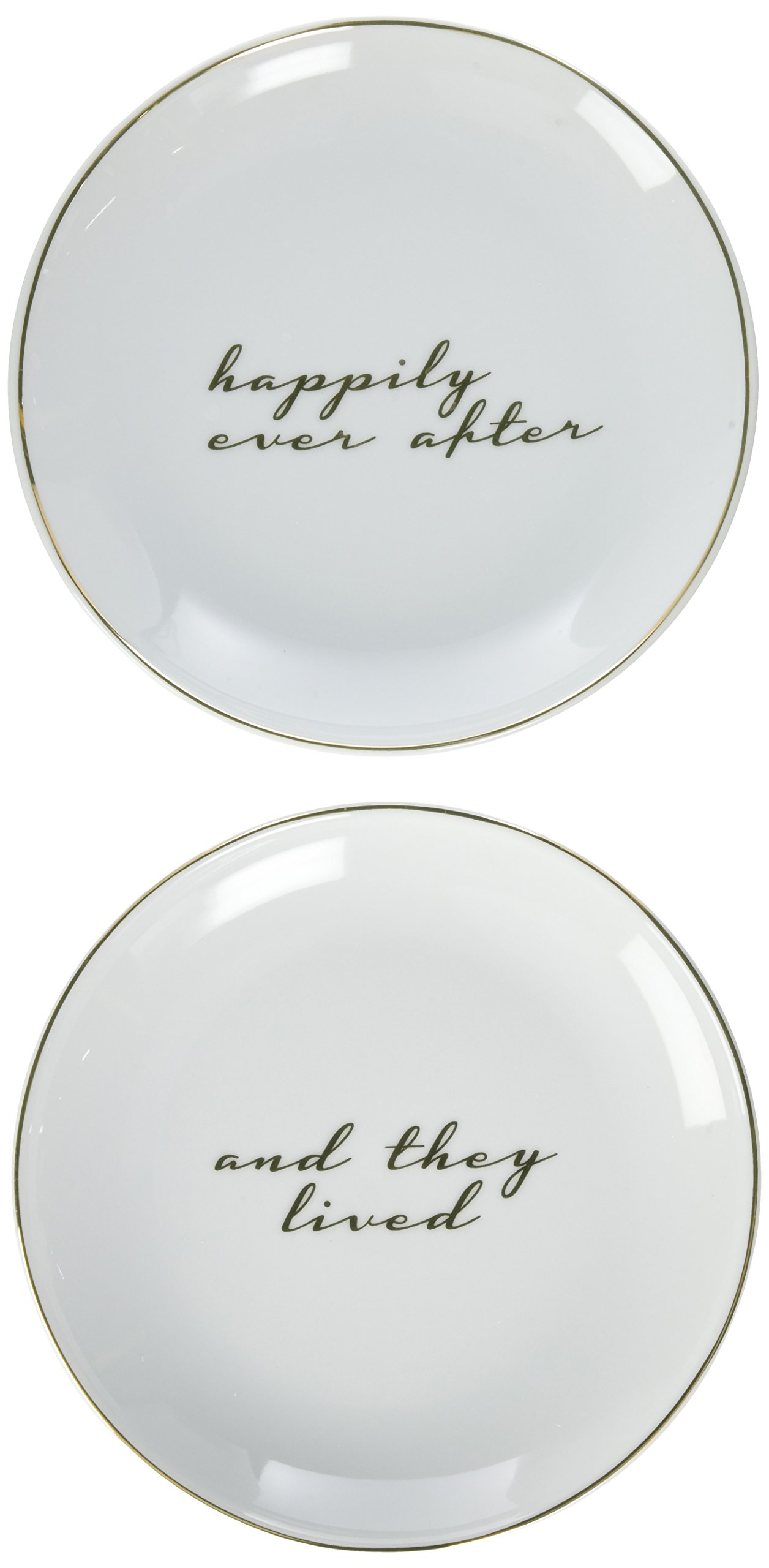 8 Oak Lane EC093LIV and They Lived Happily Ever After Porcelain Dessert Plate, 7'', White