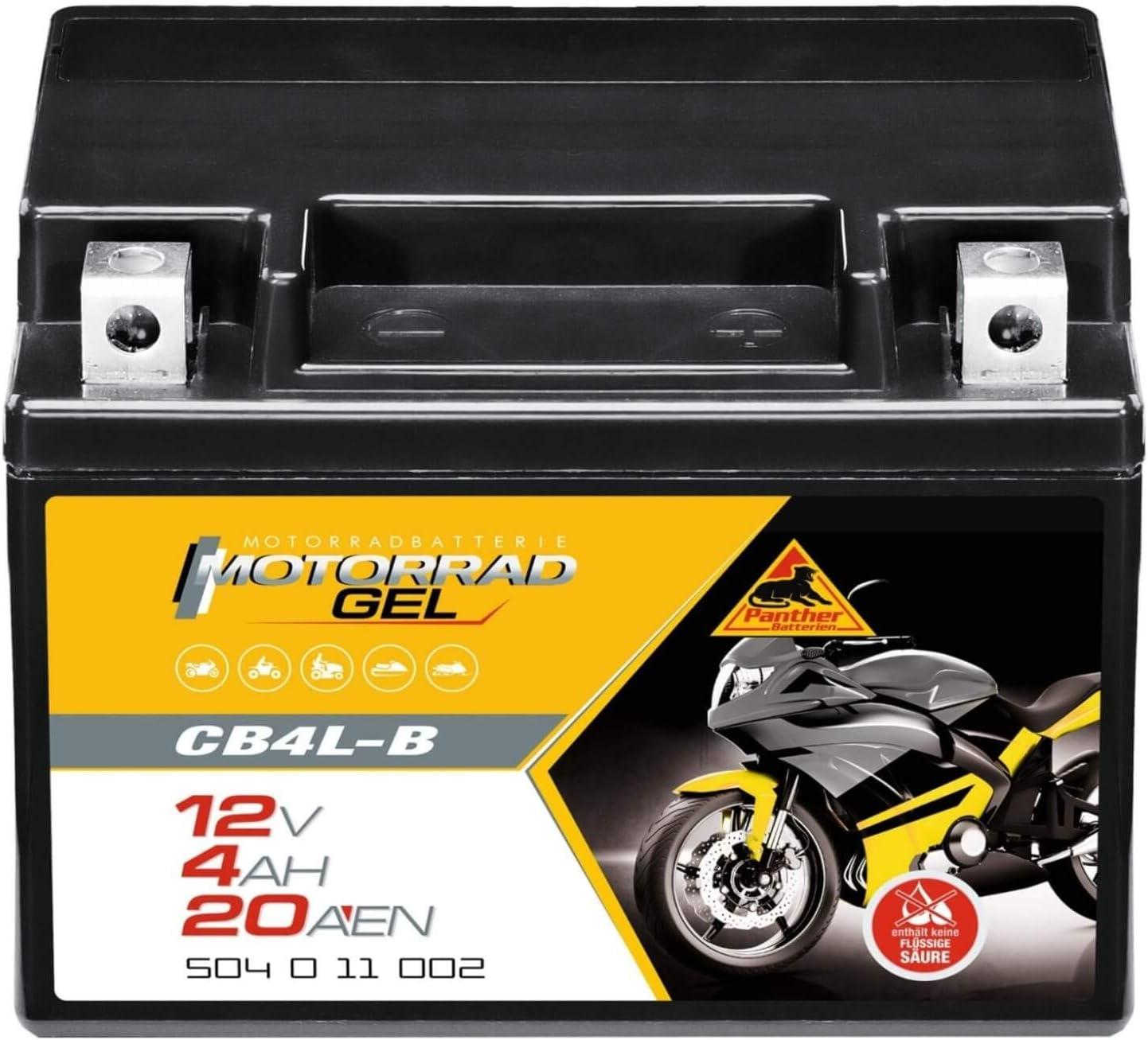 Panther Gel Batterie 12v 4ah 20a Yb4l B Motorradbatterie Din 50411 Quad Cb4l B Auto