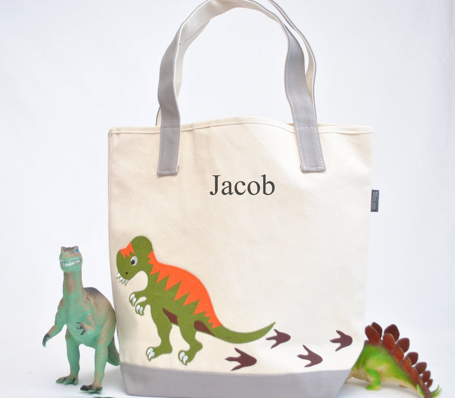 Large Dinosaur Tote|Personalized Kid tote|T-rex bag| Preschool Tote| Library bag