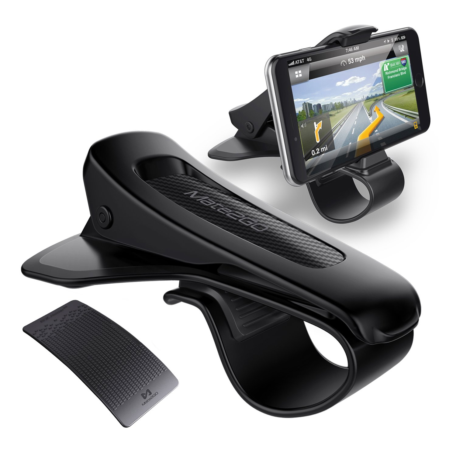 Car Phone Holder, Mate2GO Car Mount HUD Design with Anti-Slip Mat, No Blocking for Sight, Durable Dashboard Cell Phone Holder for iPhone X 8 7/7Plus/6Plus, Samsung, Huawei, 3.5-6.5 Inches Smartphones 4336806135
