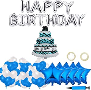 Happy Birthday Balloons, 160pcs Decorations Supplies with Silver Aluminum Foil Letters Banner Star Heart Confetti Mylar Latex Balloon for Funny Stars Party Celebration - Blue