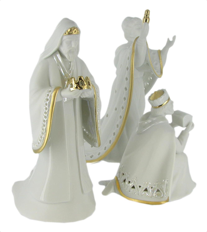 Enesco Nativity Set King of Kings Wisemen Gold Trimmed Porcelain Figurines
