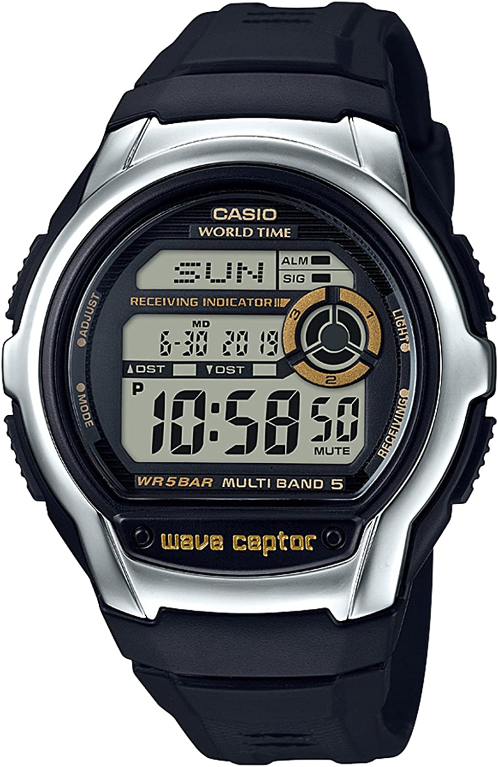 Casio Men s Wave Cepto Stainless Steel Quartz Watch with Resin Strap, Black, 22.4 Model WV-M60-9ACF