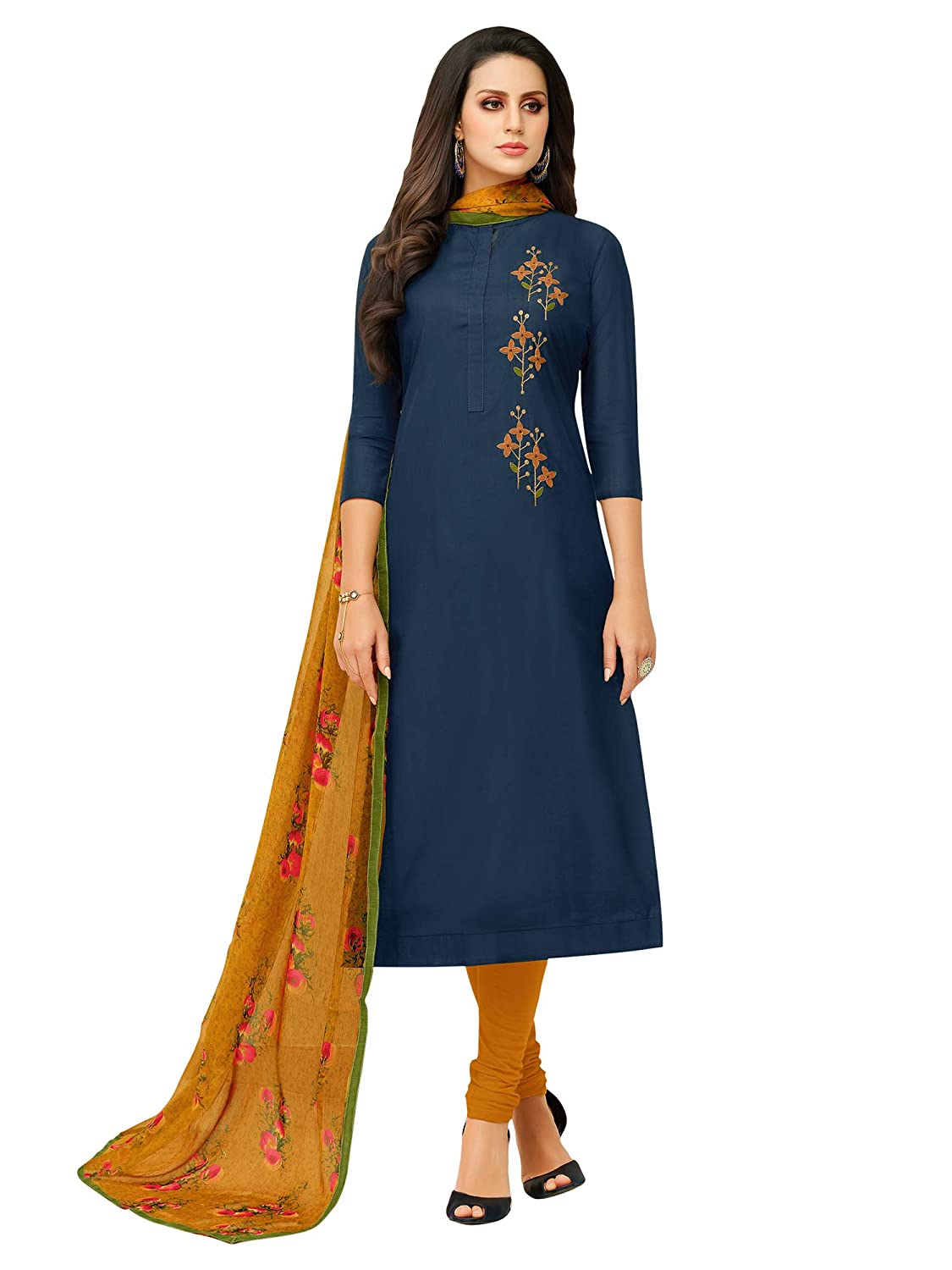 AKHILAM Women's Embroidered Chanderi Cotton Semi-Stitched Chudidar Salwar Suit Dress Material with Chiffon Dupatta (Blue_Free Size)