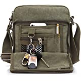 Men's Shoulder Bag, Popoti Handbag Canvas Crossbody Bag Shopping School Backpack Messenger Carrying Bags Tote Purse Multifunction Small Pockets (20x11x23cm, Green)