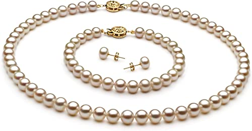 White 7-8mm AAAA Quality Freshwater Gold filled Cultured Pearl Necklace For Women