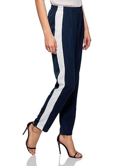 53857d3d028da oodji Ultra Femme Pantalon Léger avec Bandes Latérales