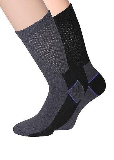 Calcetines de trabajo con rizo Suela Worker Calcetines trekking calcetines para hombre negro gris, talla