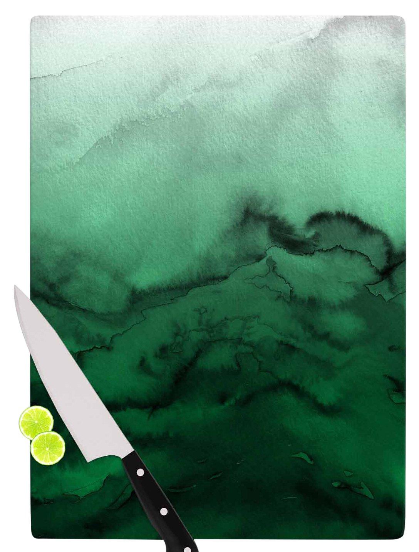 Multicolor KESS InHouse Ebi EmporiumWinter Waves 7 Green Black Cutting Board 11.5 x 15.75