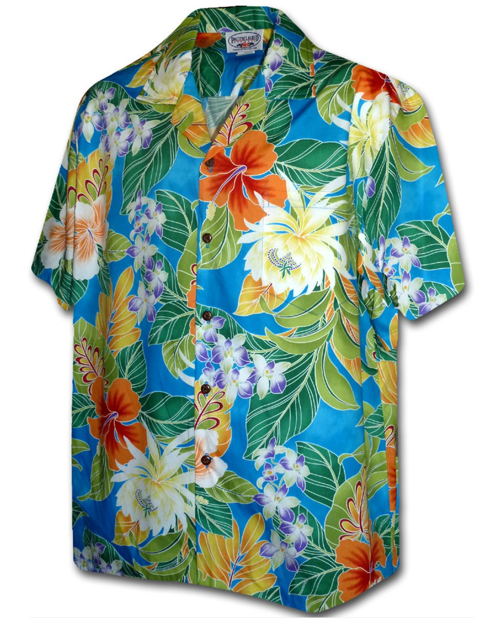 Galleon Tropical Floral Cereus Plumeria Hibiscus Hawaiian Shirt