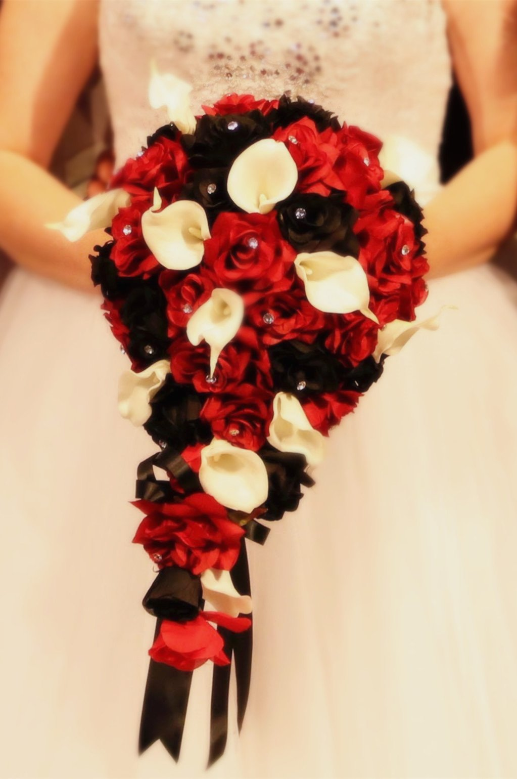 Angel-Isabella-Build-Your-Wedding-Package-Artificial-Flower-Bouquet-Corsage-Boutonniere-Rose-Calla-Lily-Red-White-Black-Wedding-Theme-Long-Cascade-Bouquet