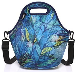 VASCHY Artist Designed Neoprene Insulated Lunch Bag Tote with Detachable Adjustable Shoulder Strap for Kids Women Hand-Drawn Feathers (Color: Hand Drawn Feathers)