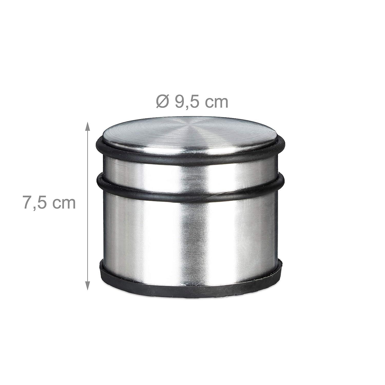 Silber 7,5 x 9,5 x 9,5 cm T/ürfeststeller Edelstahl 4 St/ück Fenster und T/üren T/ürhalter HBT: ca Gummi-Schutz Relaxdays T/ürstopper XL