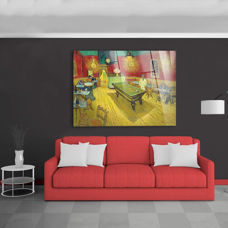 Vincent Van Gogh Pronto da Appendere Stampa su su Vetro Acrilico plexiglass Giallobus Quadro Il caff/è di Notte Vari Formati 70x50 cm
