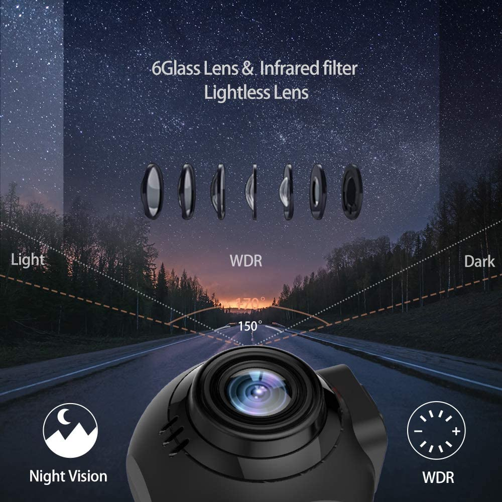 Car Dashcam,Dash Cam Recorder Front and Rear Facing Cameras 3 Display for Cars and Trucks with Night Vision Support 128GB Memory Card