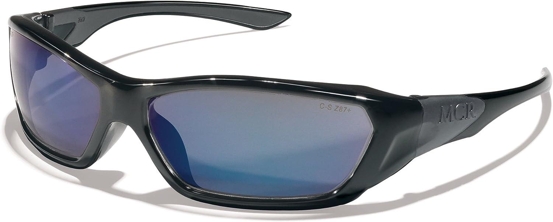 Crews FF128B Force Flex Military Ballistic Safety Glasses Black Frame Blue Diamond Lens, 1 Pair