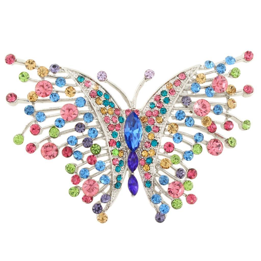 EVER FAITH Swallowtail Butterfly Brooch Multicolor Austrian Crystal Silver-Tone