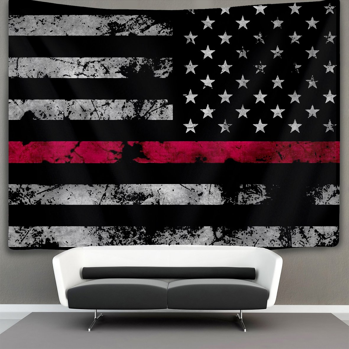Amazon Com Us Tang Thin Red Line American Flag Wall Tapestry