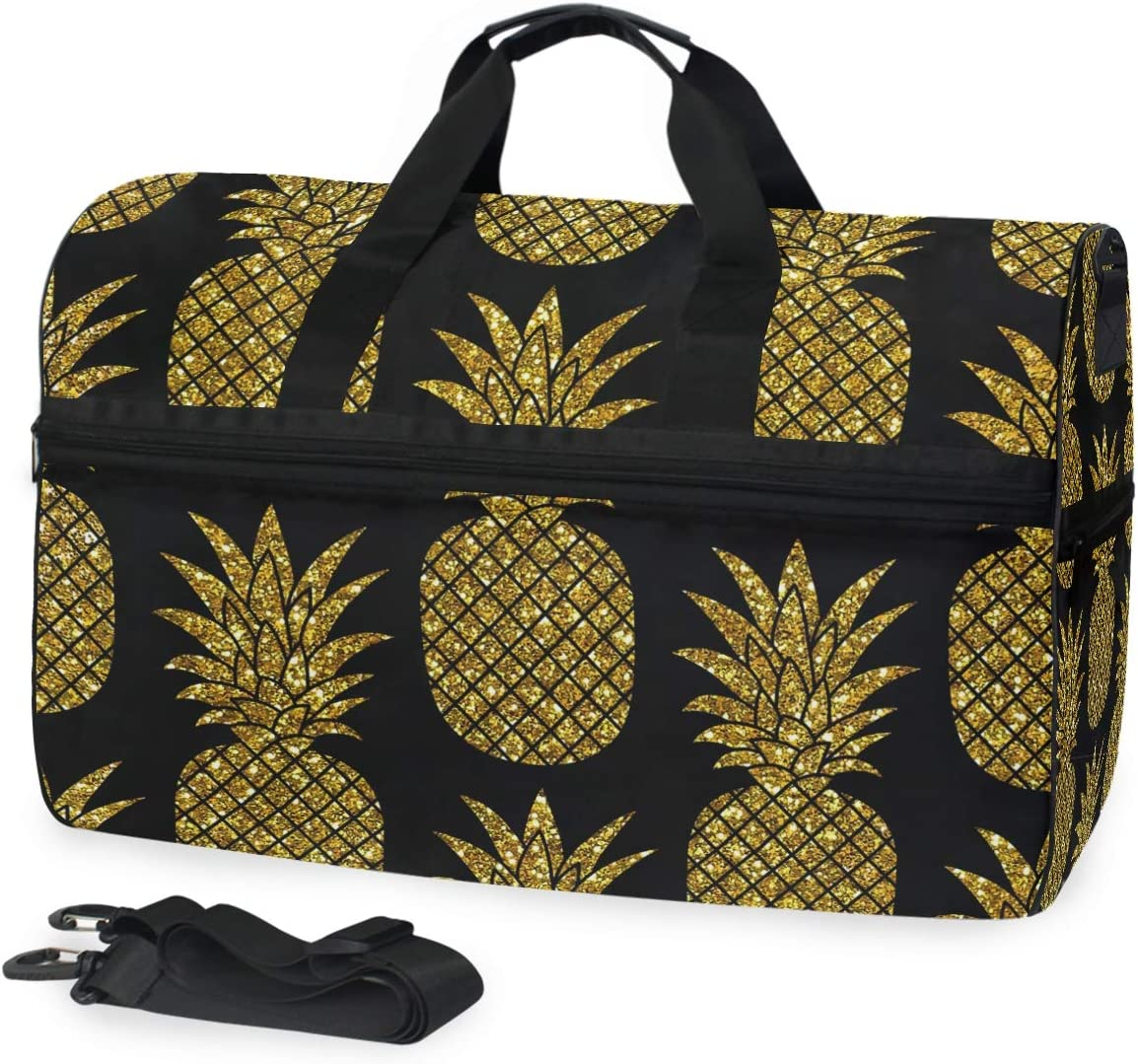 Gold Glitter Pineapple Sports Gym Bag with Shoes Compartment Travel Duffel Bag for Men and Women