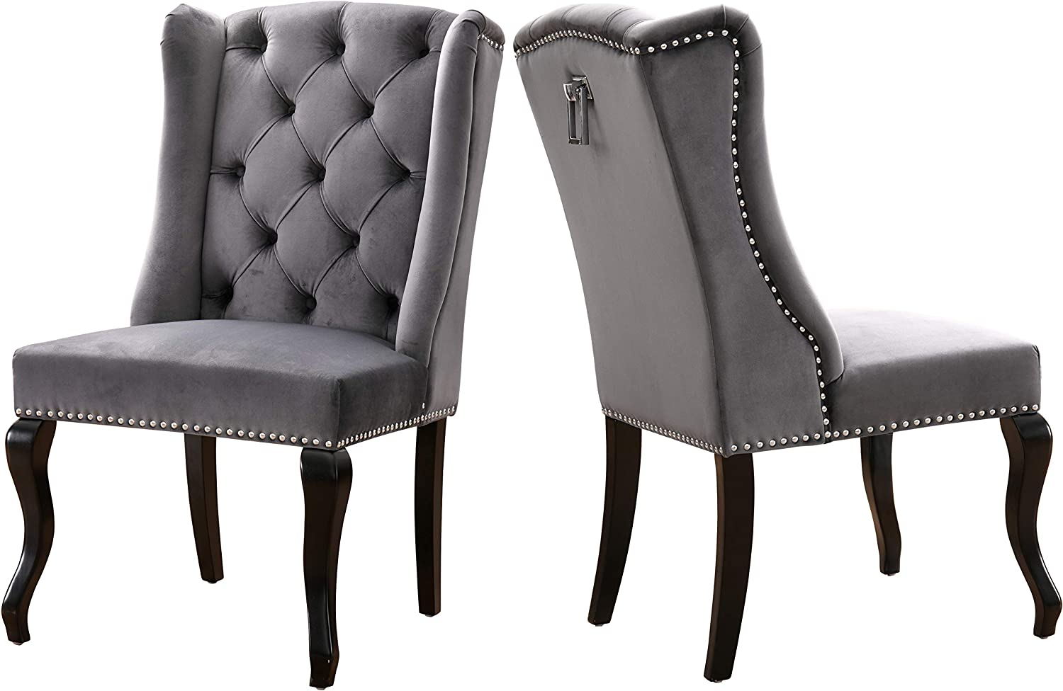 Meridian Furniture Suri Collection Modern Contemporary Grey Velvet Upholstered Dining Chair with Wood Legs, Luxurious Button Tufting, Nailhead Trim, Set of 2, 23 W x 26 D x 41 H,