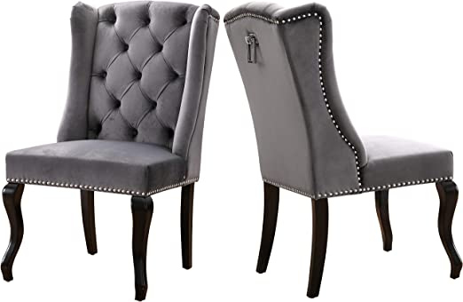 Amazon Com Meridian Furniture Suri Collection Modern Contemporary Velvet Upholstered Dining Chair With Wood Legs Luxurious Button Tufting Nailhead Trim Set Of 2 23 W X 26 D X 41 H