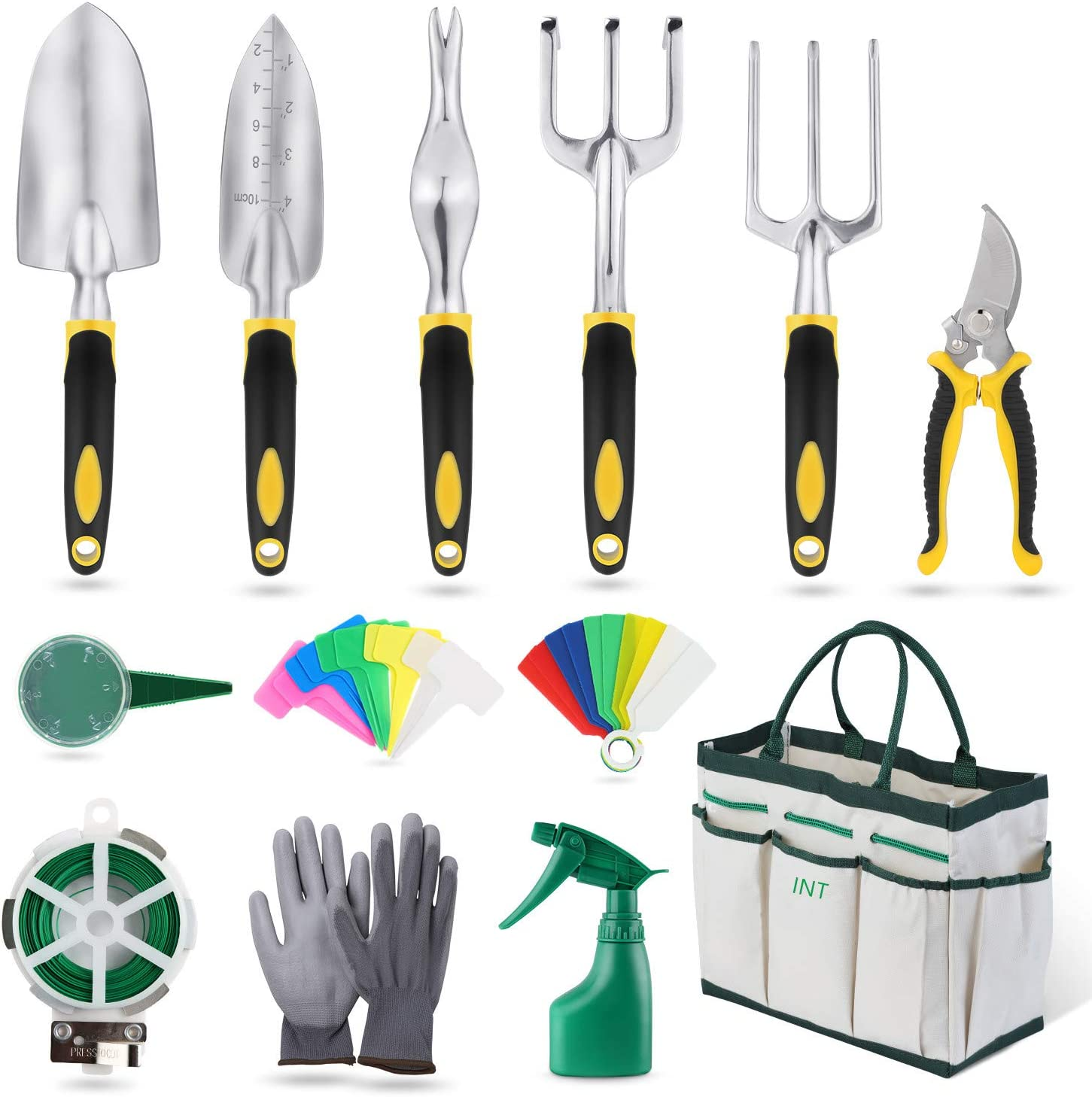 INT Garden Tools Set, 32 Pieces Gardening Hand Tool Kit, Durable Storage Tote Bag, Non-Slip Handle and Pruning Shears, Gardening Supplies Gifts for Men Women