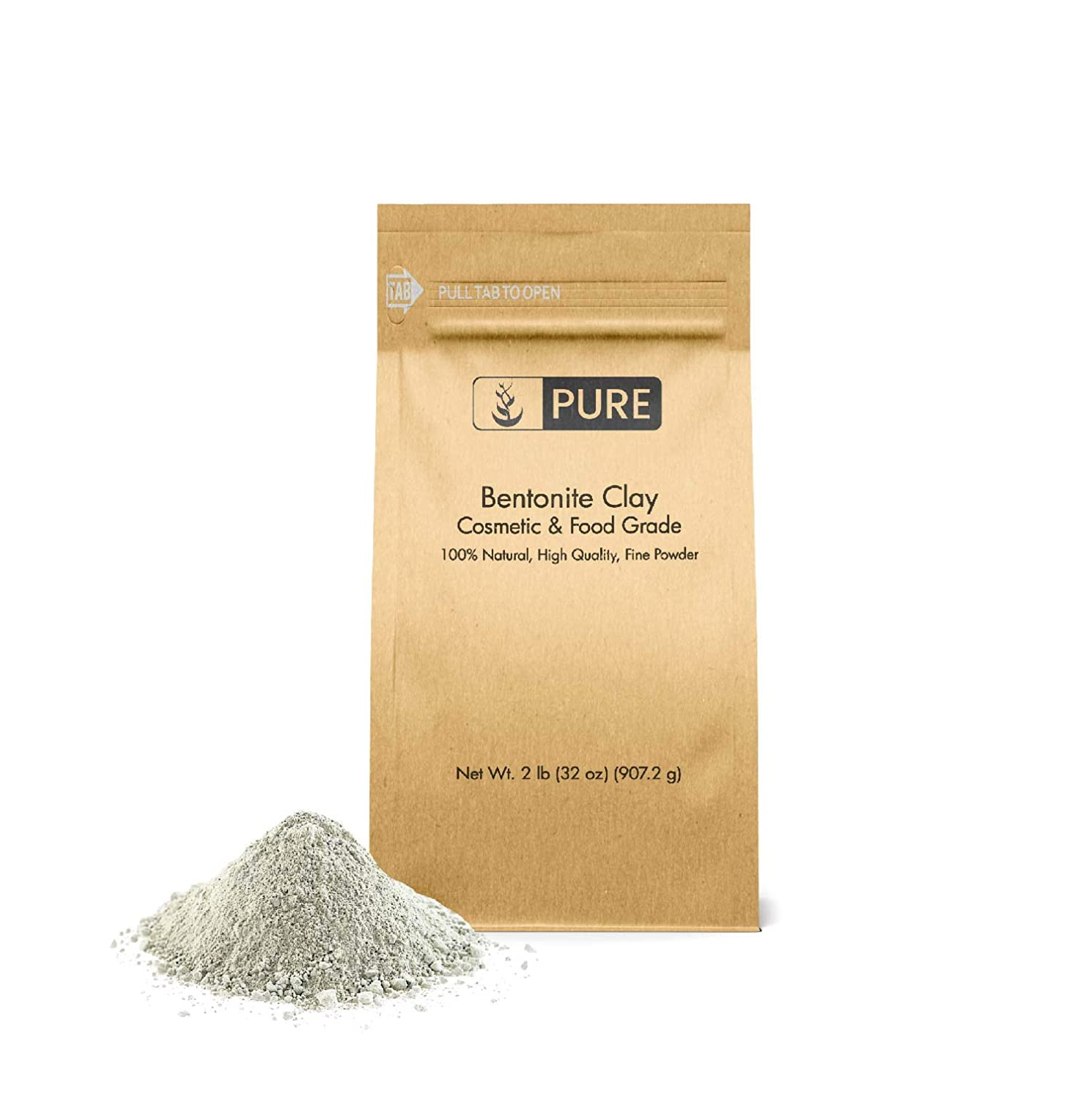 Bentonite Clay (2 lb ) by Pure Organic Ingredients, Eco-Friendly Packaging,  Fine Powder,