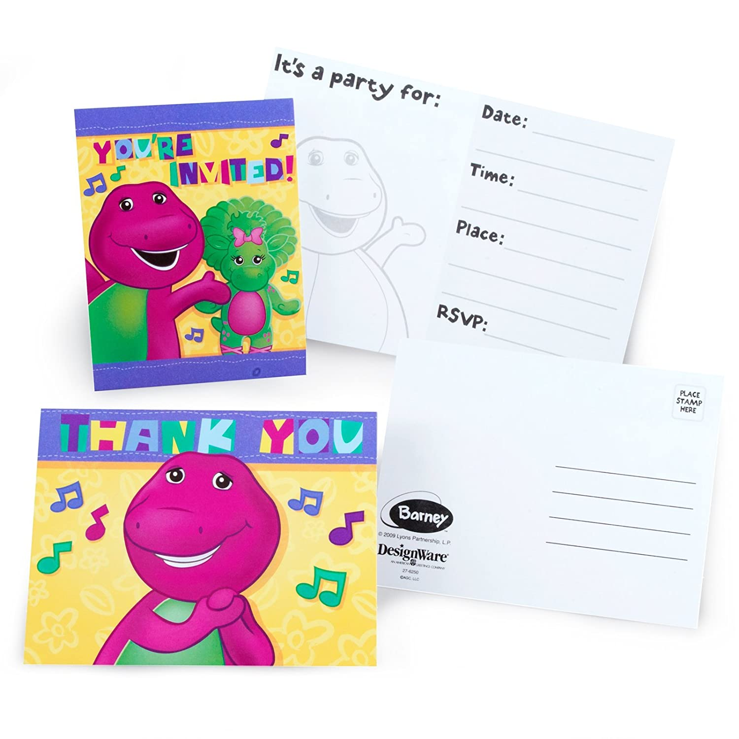 Amazon barney party supplies invitations and thank you notes amazon barney party supplies invitations and thank you notes 8 each toys games monicamarmolfo Images
