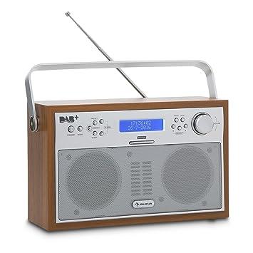 Auna acorde Digital Radio – Radio (sintonizador Dab +/FM con RDS, portátil, 20 emisoras, función Alarma/Despertador, Pantalla LCD, Nogal)