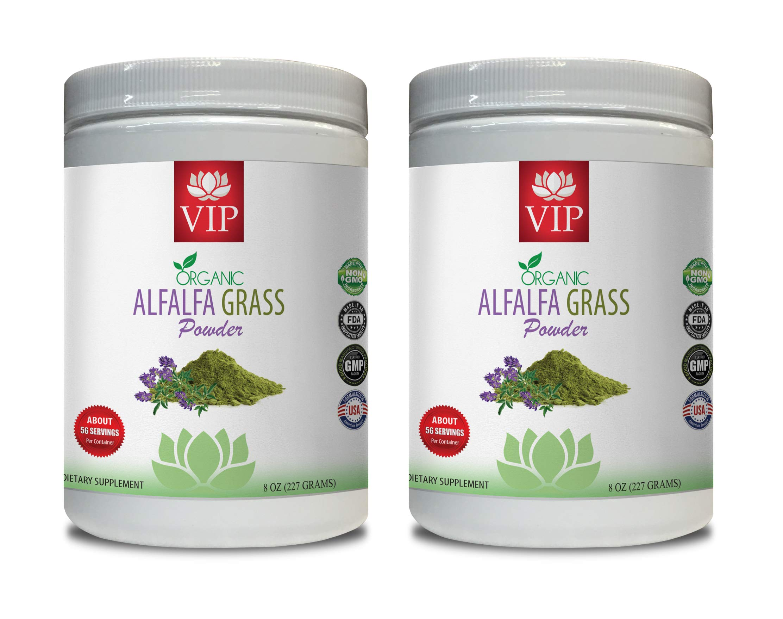 Blood Pressure Vitamin Supplements - Alfalfa Organic Grass Powder - Organic Alfalfa herb - 2 Cans 16 OZ (112 Servings)