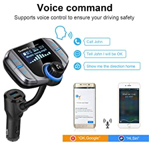 (Upgraded Version) Sumind Car Bluetooth FM Transmitter, Wireless Radio Adapter Hands-Free Kit with 1.7 Inch Display, QC3.0 and Smart 2.4A USB Ports, AUX Input/Output, TF Card Mp3 Player(Silver Grey) (Color: Silver Grey)