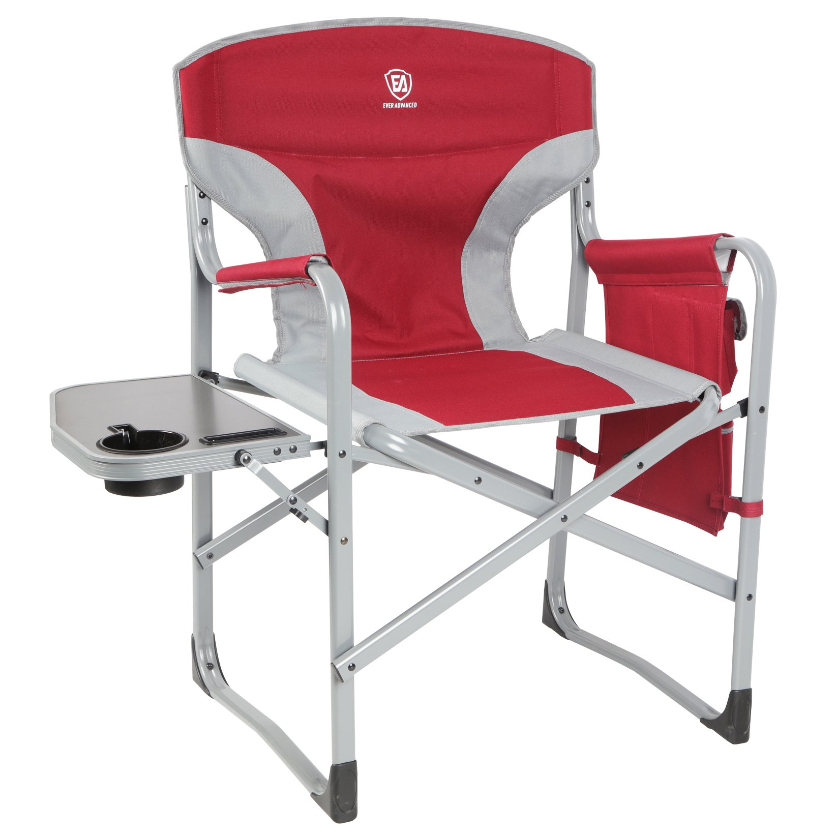 EVER ADVANCED Full Back Aluminum Folding Directors Chair with Side Table and Storage Pouch Heavy Duty 300LBS