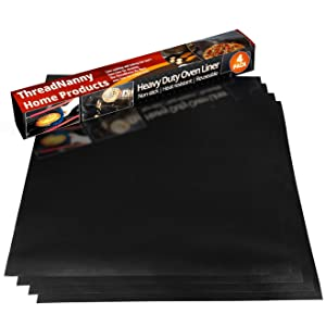 "Pack 4 Large Thick Non Stick Oven Liners Mat Heavy Duty Teflon, 17""x 25"" for bottom of Electric Oven Gas Oven Microwave Charcoal or Gas Grills BPA and PFOA Free."