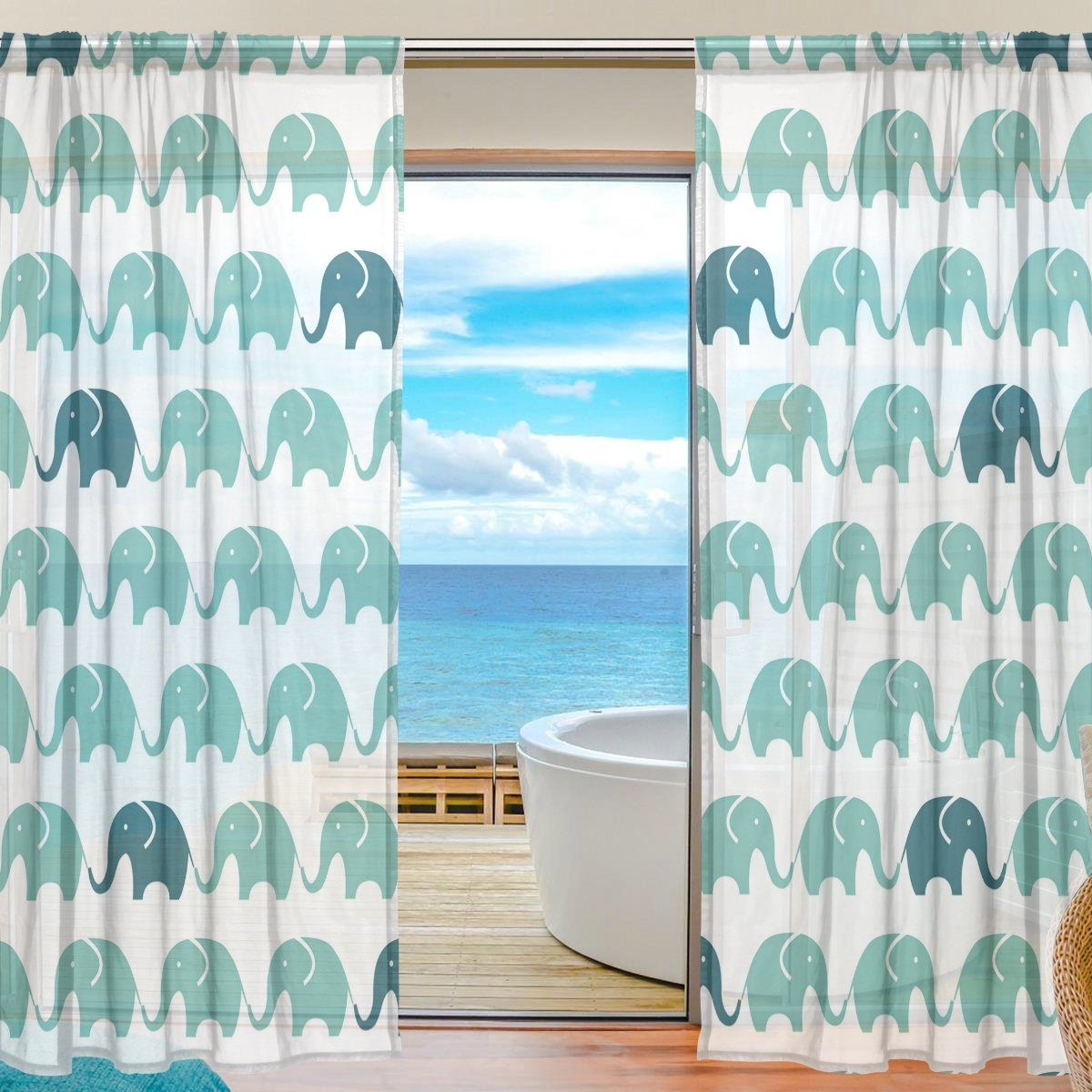Vantaso Sheer Curtains 84 inch Long Blue And Green Elephants Seamless for Kids Girls Bedroom Living Room Window Decorative 2 Panels
