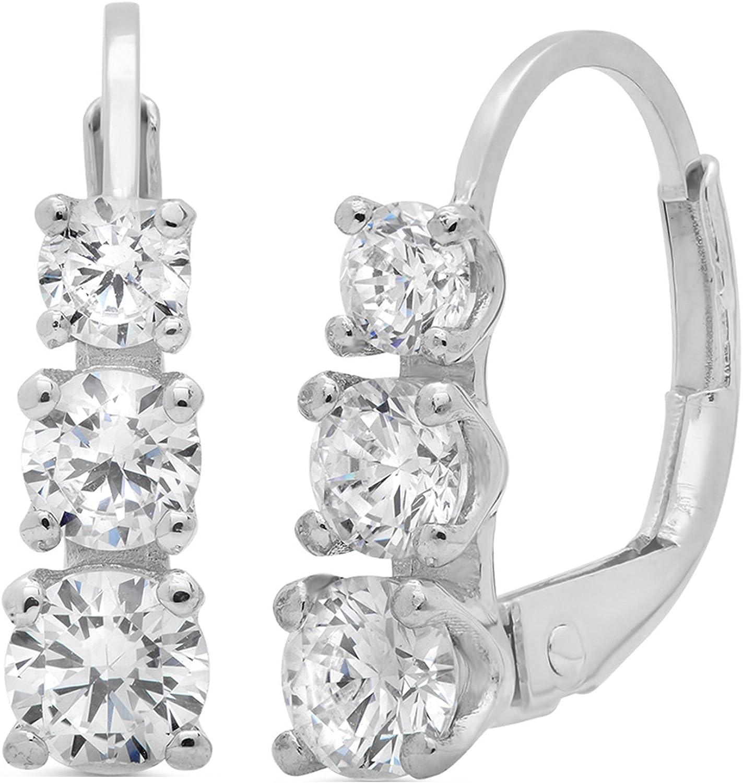 Clara Pucci 2.40 CT 3 Stone ROUND CUT Earrings 14K White Gold Past Present Future Leverback