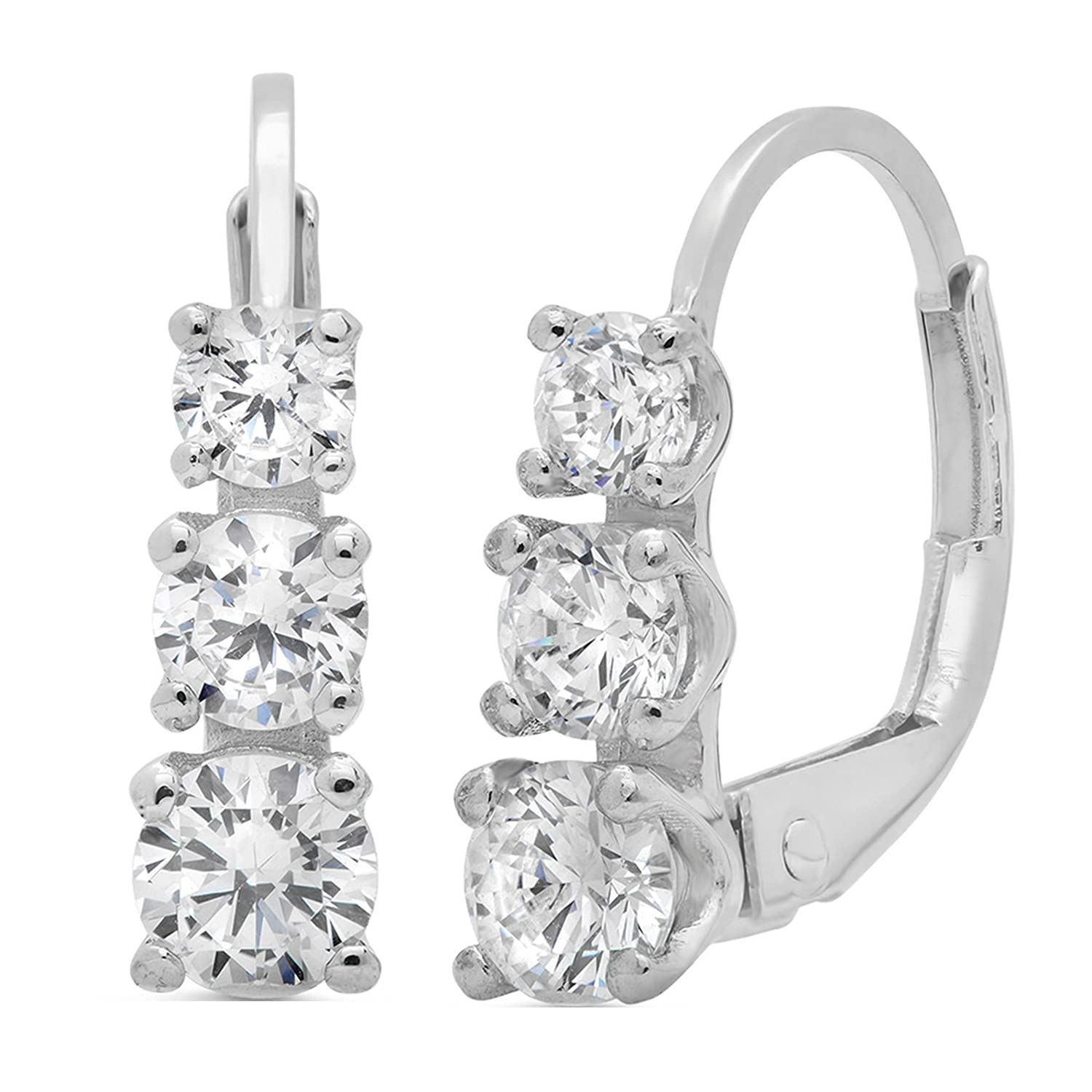 Clara Pucci 2.40 CT 3 Stone ROUND CUT Earrings 14K White Gold Past Present Future Leverback