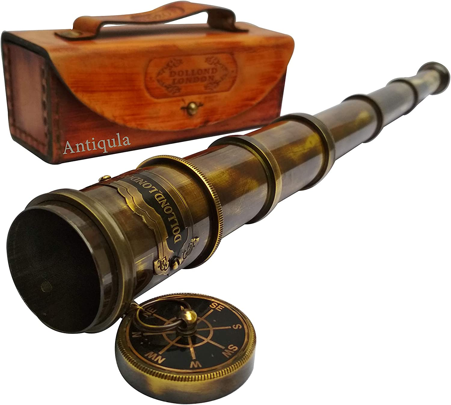 Antique Look Vintage 15 inches Dollond London Chain Telescope Royal Navy Decorative Christmas Helloween Thanksgiving Gift Item with Leather Case Home Decor Toy Gift Pirate Navigation