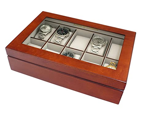 a4b28bbfa4b Mele   Co Luxury Wooden 10 Watch Storage Box   Display Case with Walnut Wood  Finish  Amazon.co.uk  Kitchen   Home