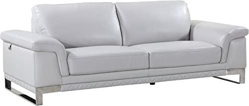 Blackjack Furniture 411 Weston Collection Italian Leather Living Room, Sofa, Light Gray