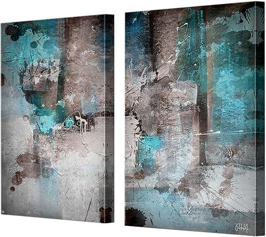 Ready2HangArt 40″ x 20″ INKD XXVI' Abstract 2 Piece Modern Contemporary Canvas Wall Art Print
