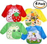 Skroad 4 Pcs Baby Bibs with Sleeves, Unisex Waterproof Feeding Bibs for Infant Toddler 6 to 36 Months